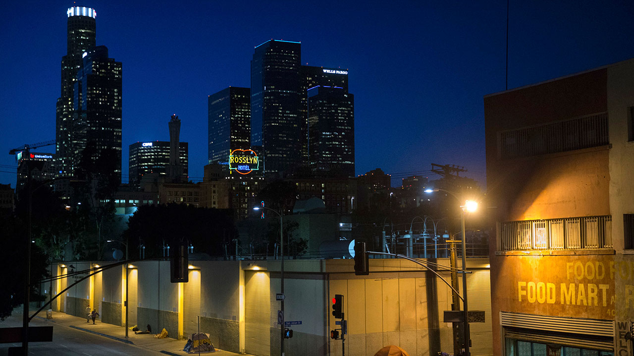Homeless people sleep in the Skid Row area in downtown Los Angeles.