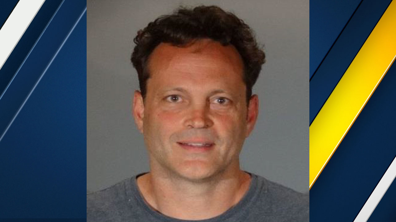 Vince Vaughn appears in a booking photo,