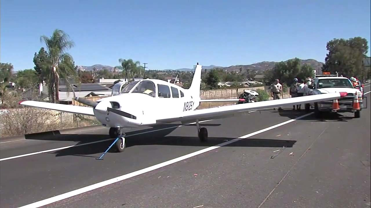A small plane made an emergency landing on a freeway in San Diego County on Friday, Oct. 19, 2018.