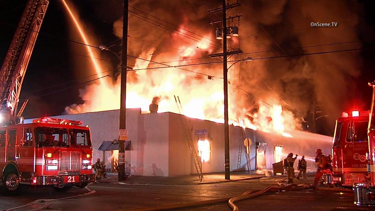 A three-alarm fire raced through multiple businesses along Hooper Avenue in Florence on Wednesday, Oct. 7, 2015.