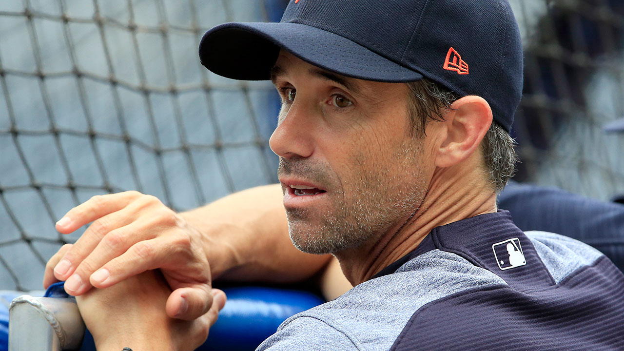 FILE - Brad Ausmus watches batting practice before a baseball game against the Kansas City Royals at Kauffman Stadium in Kansas City, Mo., Tuesday, Sept. 26, 2017.
