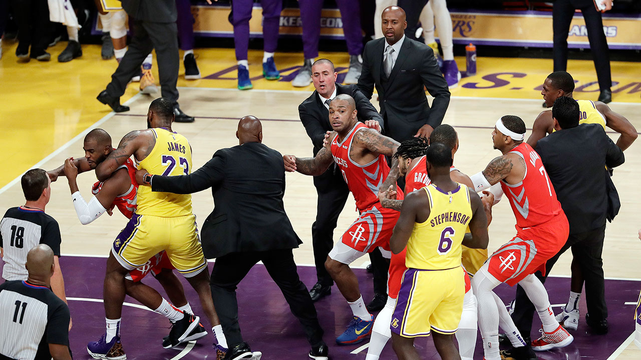 A brawl erupts during the Lakers-Rockets game in LeBron James Staples Center debut on Saturday, Oct. 20, 2018.