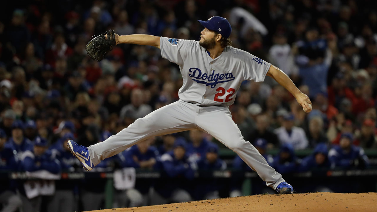 Los Angeles Dodgers pitcher Clayton Kershaw throws during Game 1 of the World Series baseball game against the Boston Red Sox Tuesday, Oct. 23, 2018, in Boston.