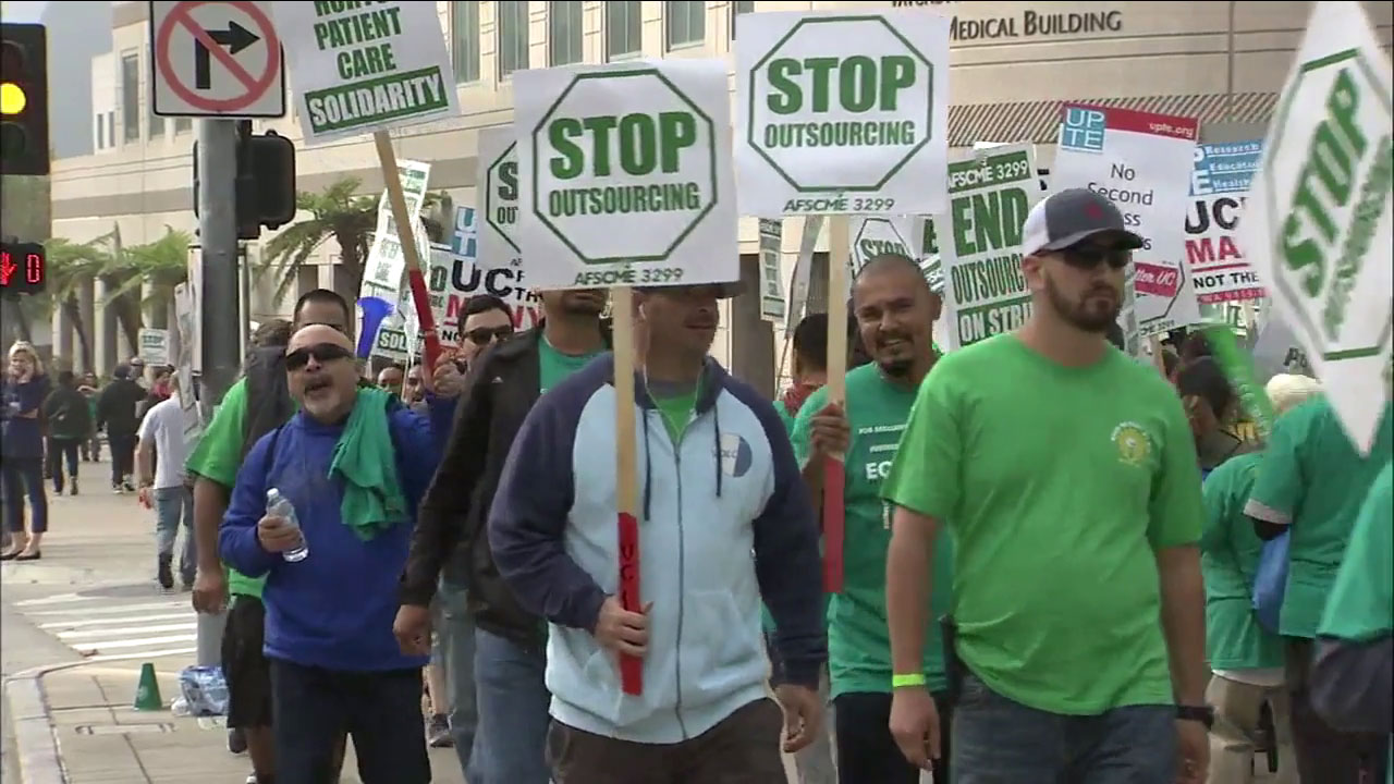 Thousands of hospital workers at University of California medical centers throughout the state have started a three-day strike over unresolved contract talks.