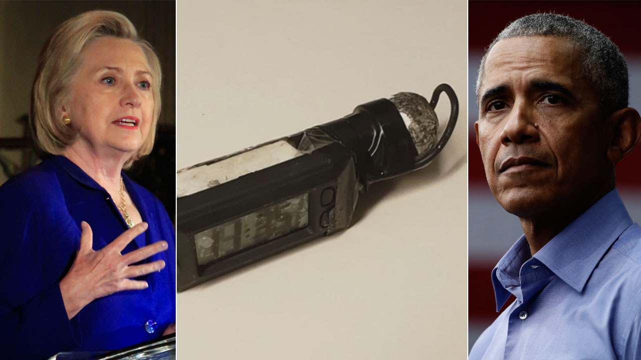 A photo of a device sent to a CNN office in New York is pictured between undated photos of Hillary Clinton and former President Barack Obama.