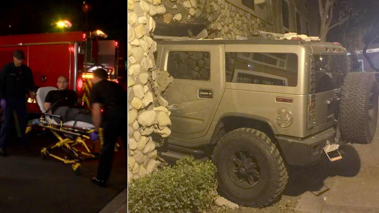 A man intentionally slammed his Hummer into the side of a hotel in San Dimas, crashing into a room where his family was staying on Friday, Oct. 9, 2015.