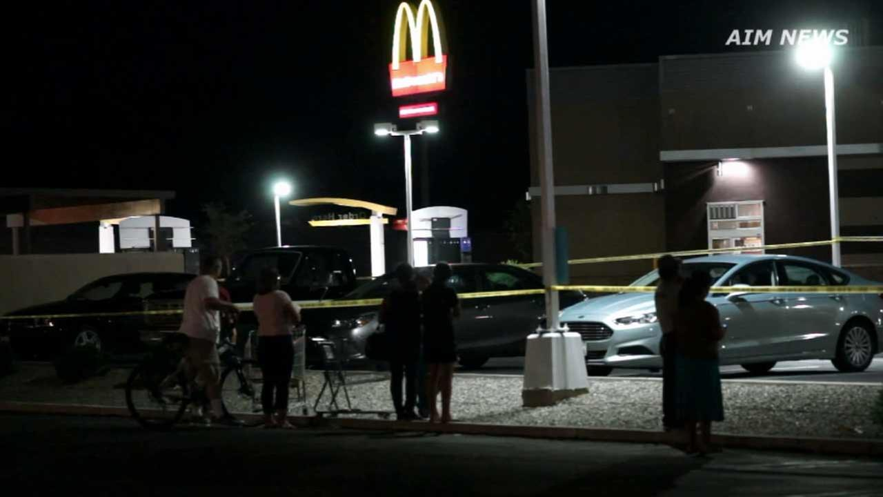 Riverside County sheriffs deputies investigate a fatal shooting inside a McDonalds in the 28000 block of Bradley Avenue in Menifee on Friday, Oct. 9, 2015.