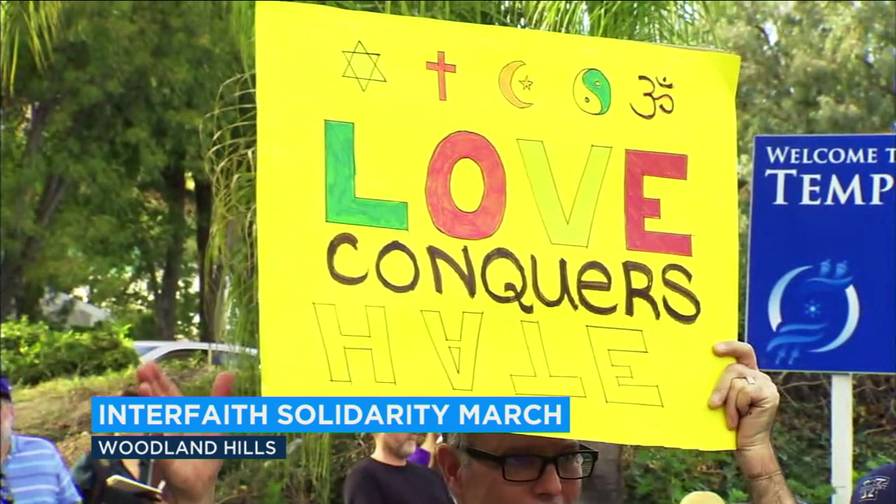 Dozens of people from multiple faiths gathered together in the San Fernando Valley to call for unity and understanding between those with differing beliefs.