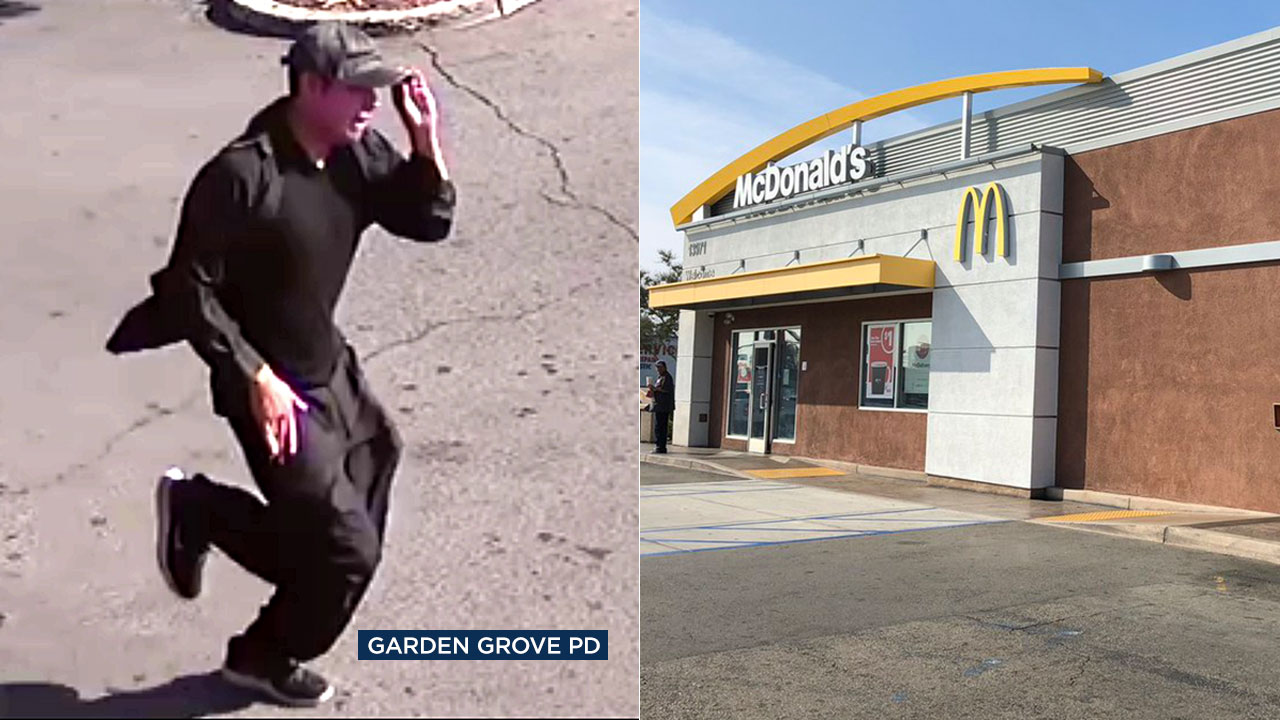 Surveillance video shows a suspect fleeing from a Garden Grove McDonalds after allegedly stabbing an 89-year-old man in the bathroom.