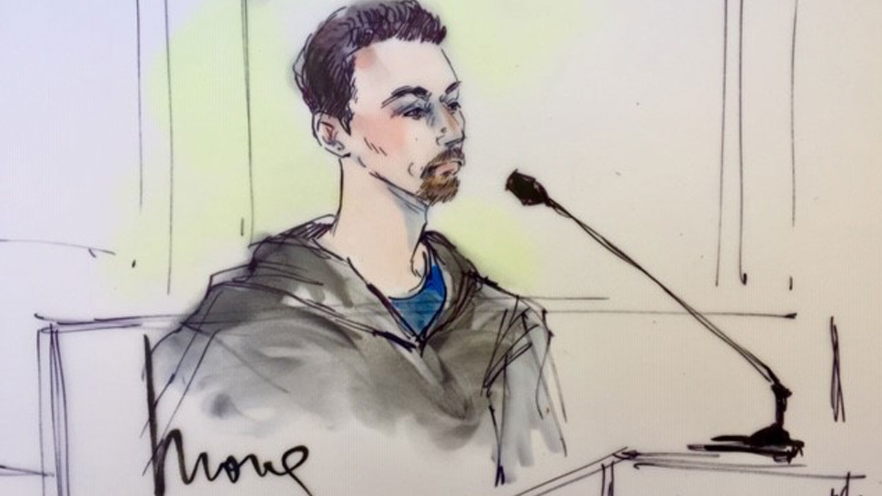 A courtroom sketch shows Aaron Eason, a 38-year-old suspected white supremacist, in federal court in downtown Los Angeles.