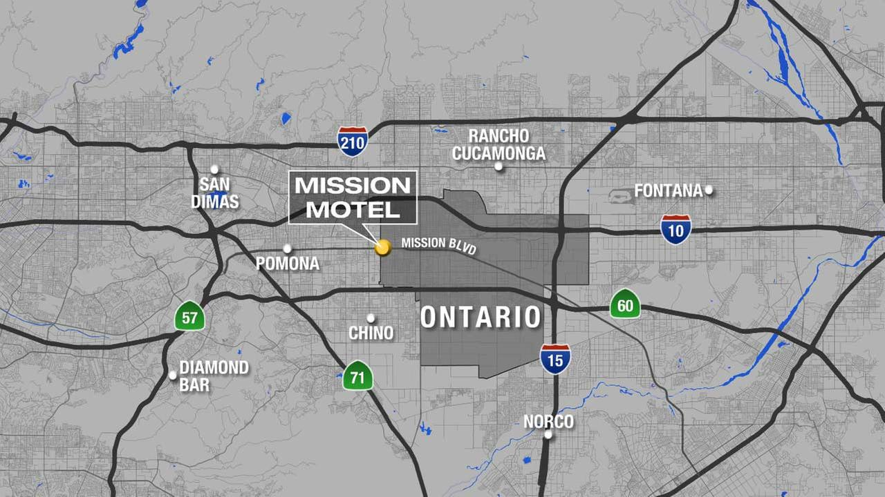 A map shows the location of a motel in Ontario, where a mans body was found on Sunday, Oct. 11, 2015.