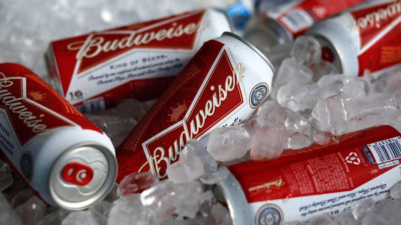 Budweiser beer cans at a concession stand