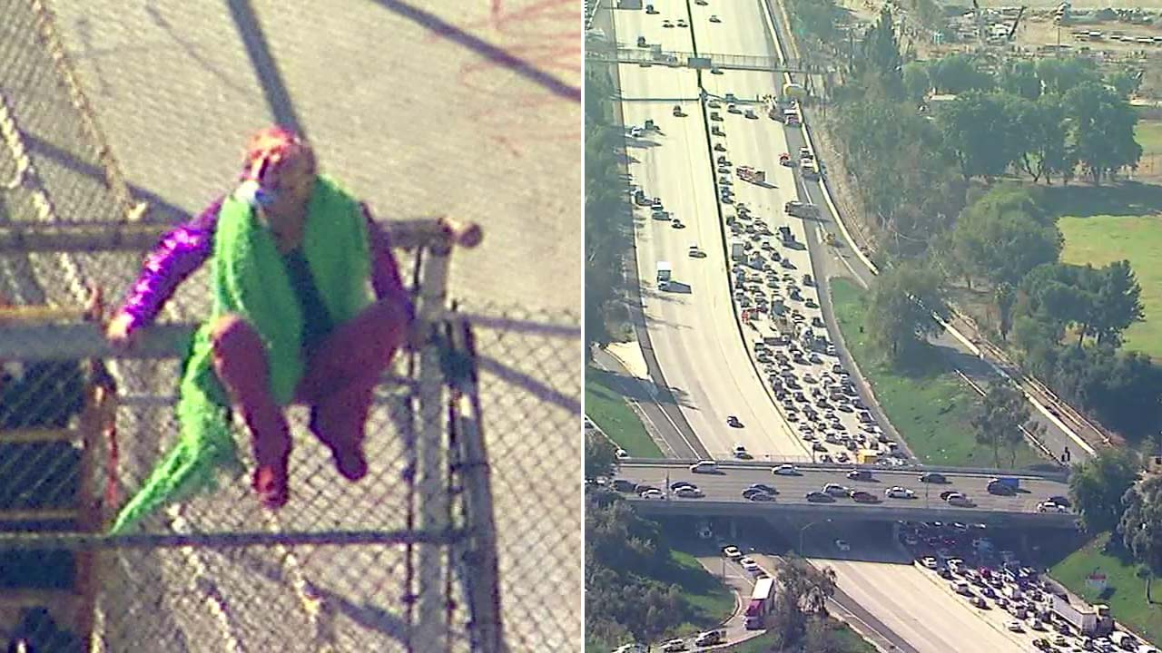 A person wearing a costume threatening to jump off an overpass prompted the closure of multiple lanes along the 170 Freeway in the Sun Valley area on Wednesday, Oct. 31, 2018.
