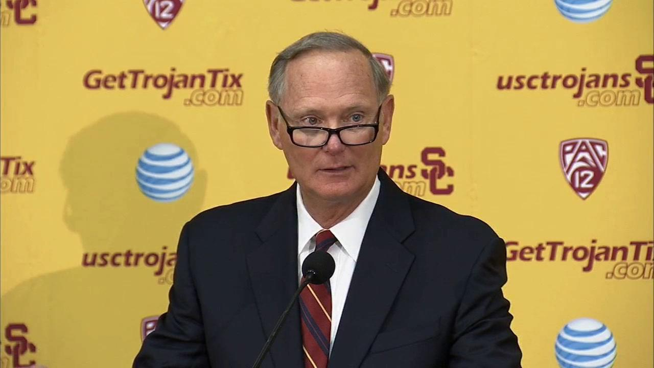 USC Athletic Director Pat Haden speaks at a news conference on Tuesday, Oct. 13, 2015.