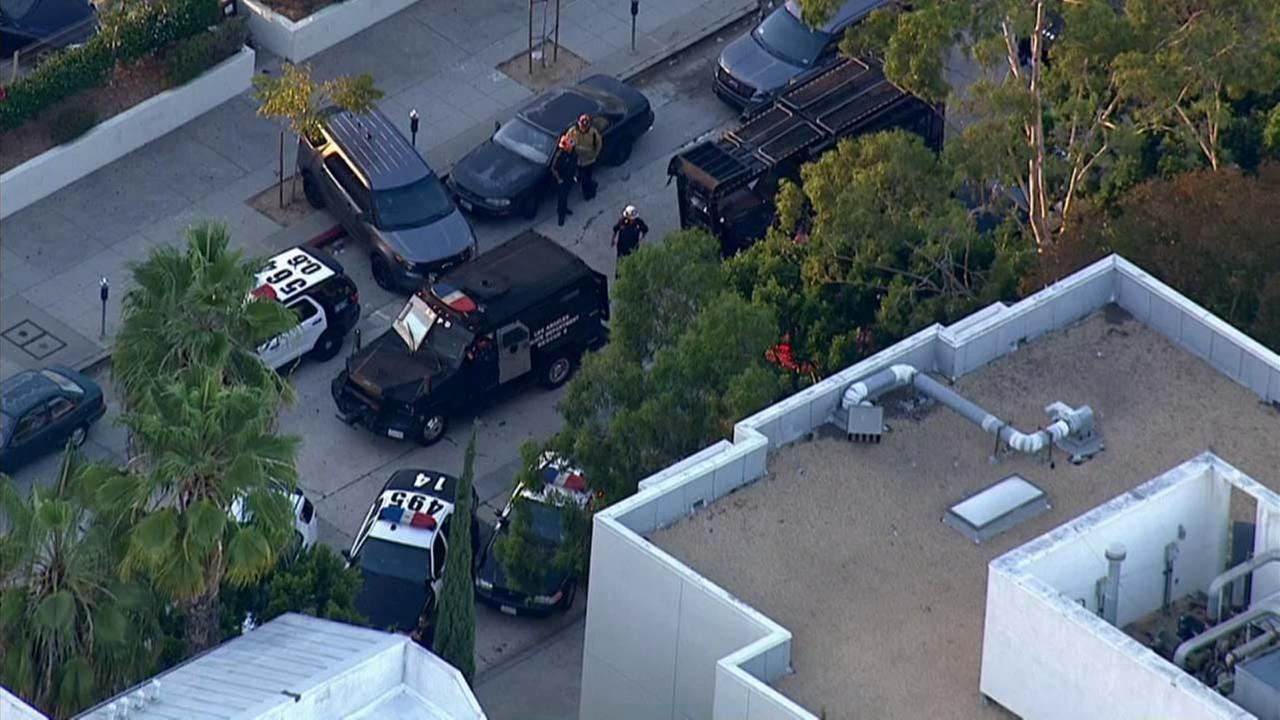 SWAT and LAPD at a scene in Westwood where there were reports of a gunman on the loose Tuesday, Oct. 13, 2015.