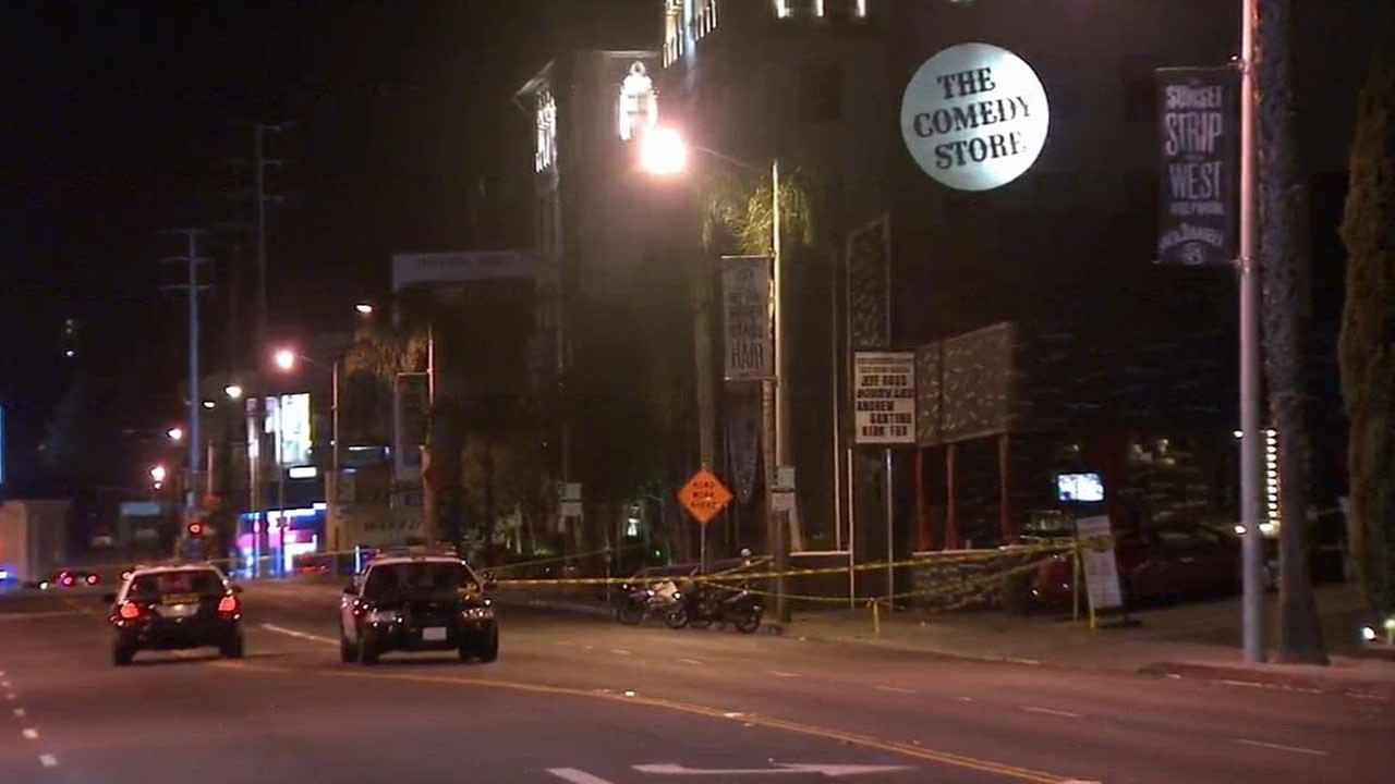 Los Angeles County sheriffs deputies investigate a fatal shooting outside The Comedy Store in the 8400 block of Sunset Boulevard in West Hollywood on Wednesday, Oct. 14, 2015.