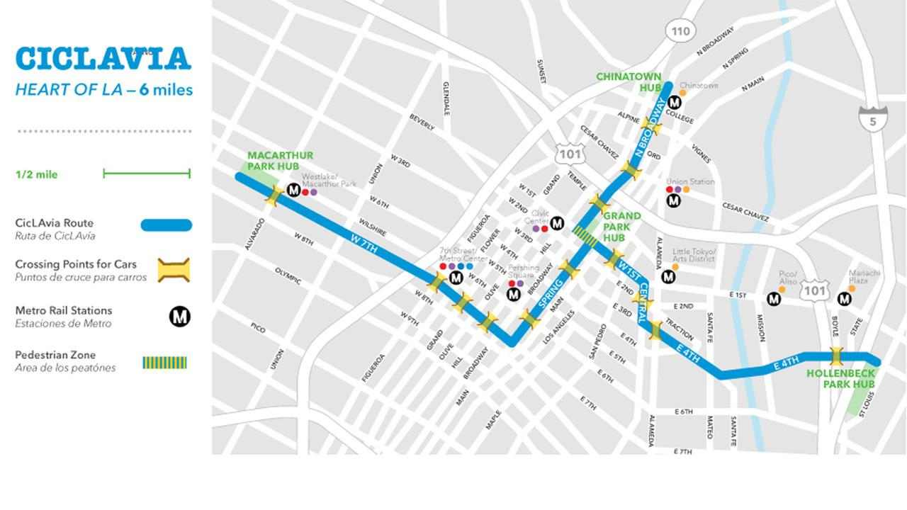 A map of CicLAvias Heart of LA event on Sunday, Oct.18, 2015.
