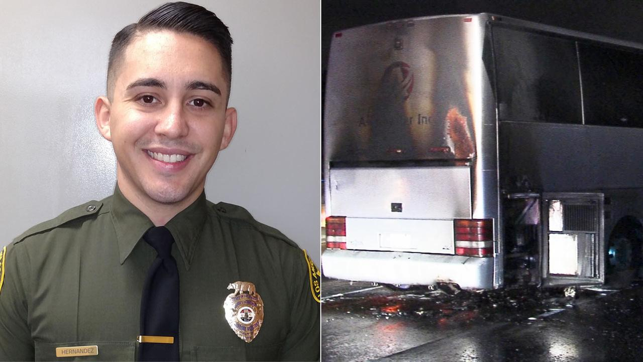Jesse Hernandez, a Los Angeles County Sheriffs Department custody assistant, rescued 42 people from a burning charter bus on Sunday, Oct. 18, 2015.