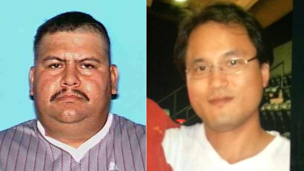Eleazar Vargas, 41, of Los Alamitos (left) is a person of interest in the murder of 39-year-old Sangju Sung (right).