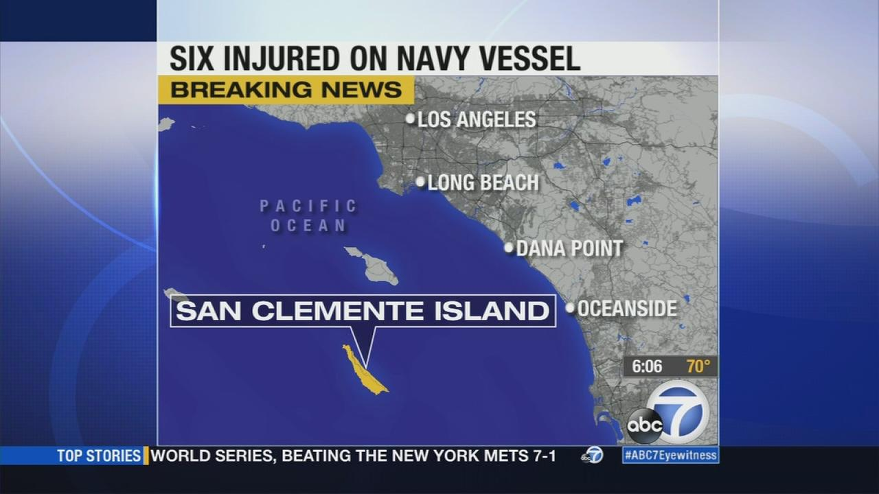 Two sailors were injured during a training exercise 10 miles off the coast of San Clemente Island Thursday morning, according to a Navy official.