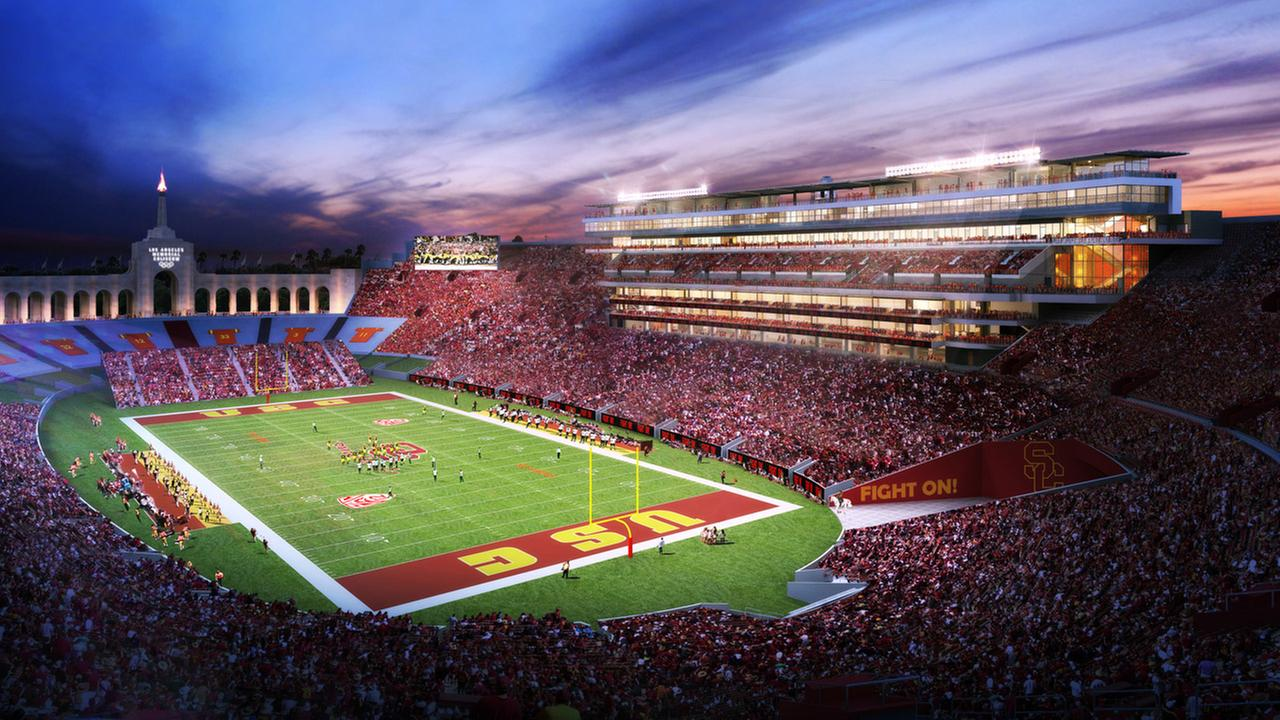 A rendering of the proposed renovations to the Los Angeles Memorial Coliseum is shown above.