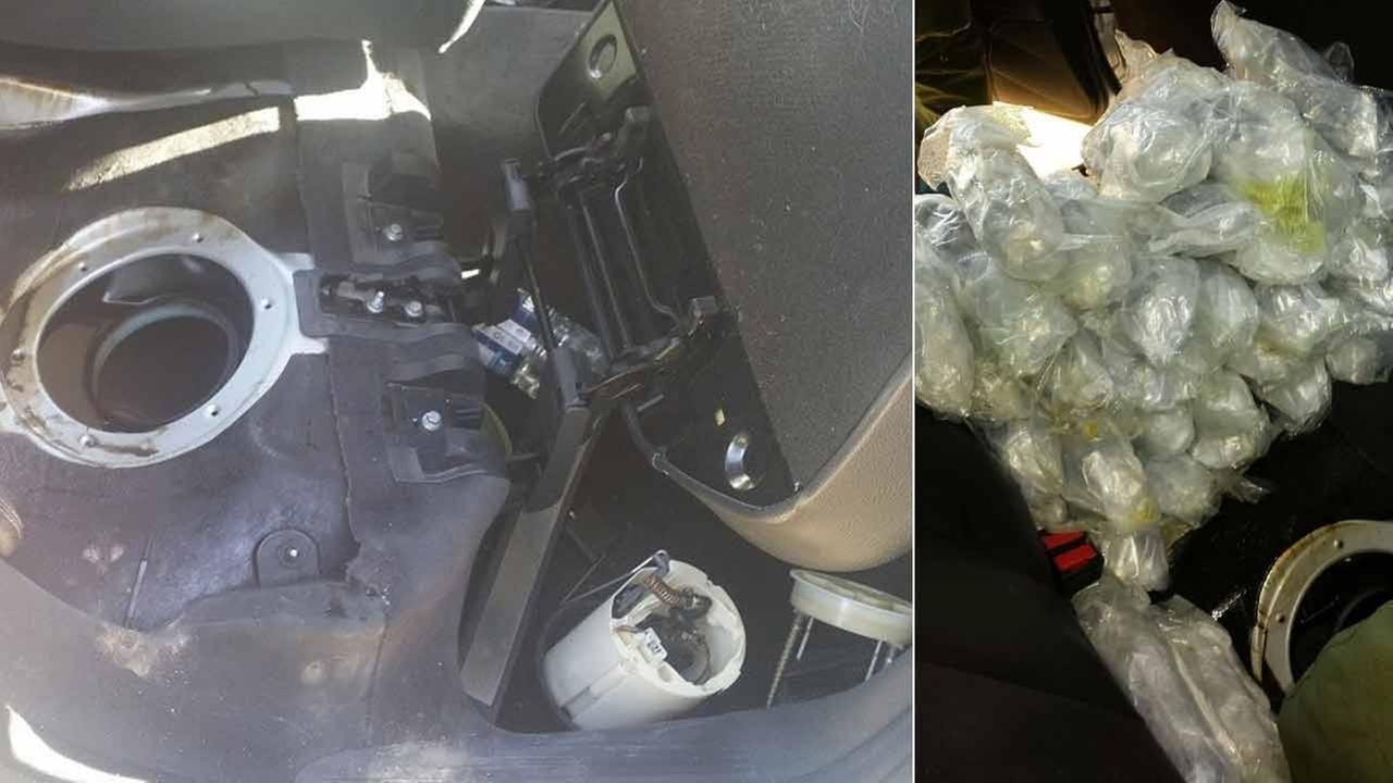 Packages of meth and cocaine were found hidden inside a vehicles fuel tank in Salton City Thursday, Nov. 5, 2015.