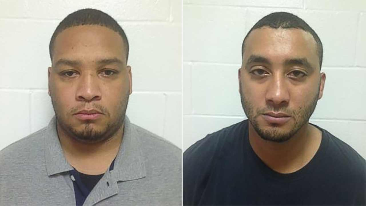 These booking photos provided by the Louisiana State Police show Marksville City Marshal Derrick Stafford (left) and Marksville City Marshal Norris Greenhouse Jr. (right).