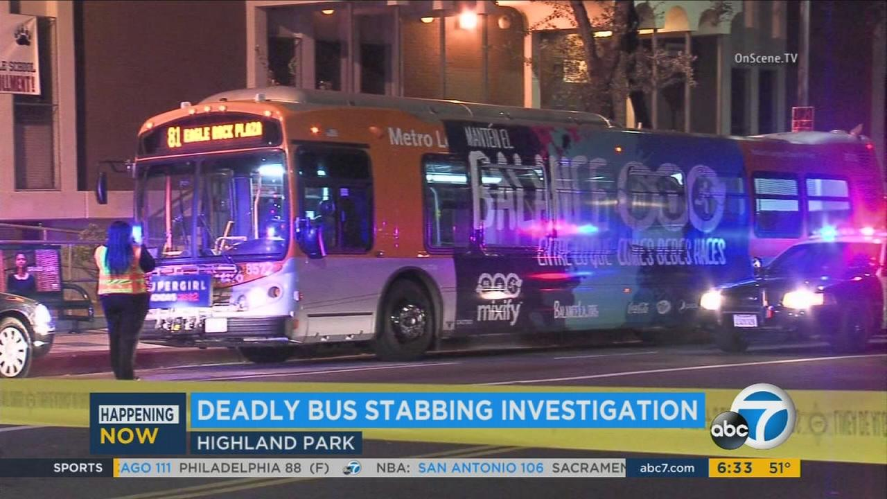 A man was stabbed to death on a Metro bus near Meridian and N. Figueroa streets in Highland Park on Monday, Nov. 9, 2015.