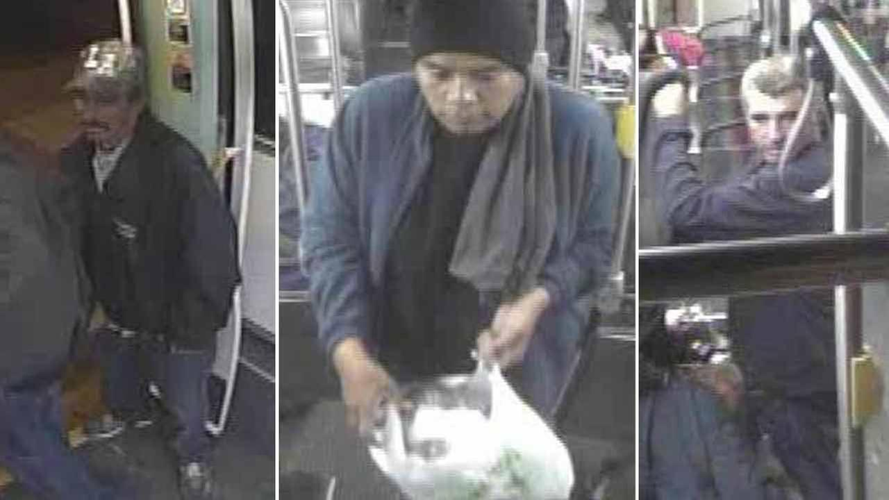 Surveillance footage captured three men accused of stabbing a man to death on a Metro bus in Highland Park Monday, Nov. 9, 2015.