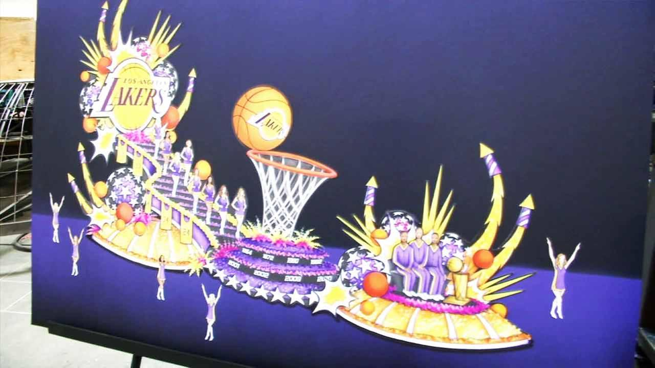 A design of the first Los Angeles Lakers float was revealed Tuesday, Nov. 10, 2015.