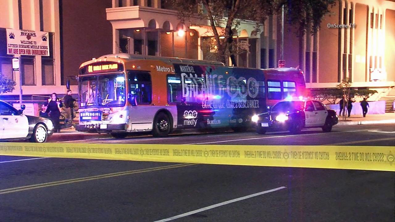 Crime scene tape ropes off the scene of a fatal stabbing aboard a Metro bus in Highland Park on Monday, Nov. 9, 2015.