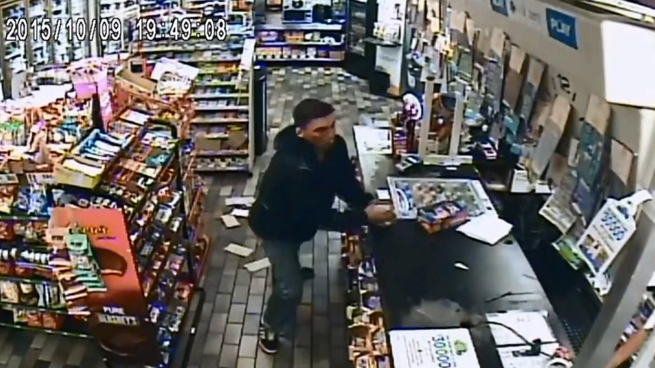 Surveillance footage from Oct. 9, 2015 shows an assault suspect destroying a cash register and counter top at a liquor store in Santa Fe Springs.
