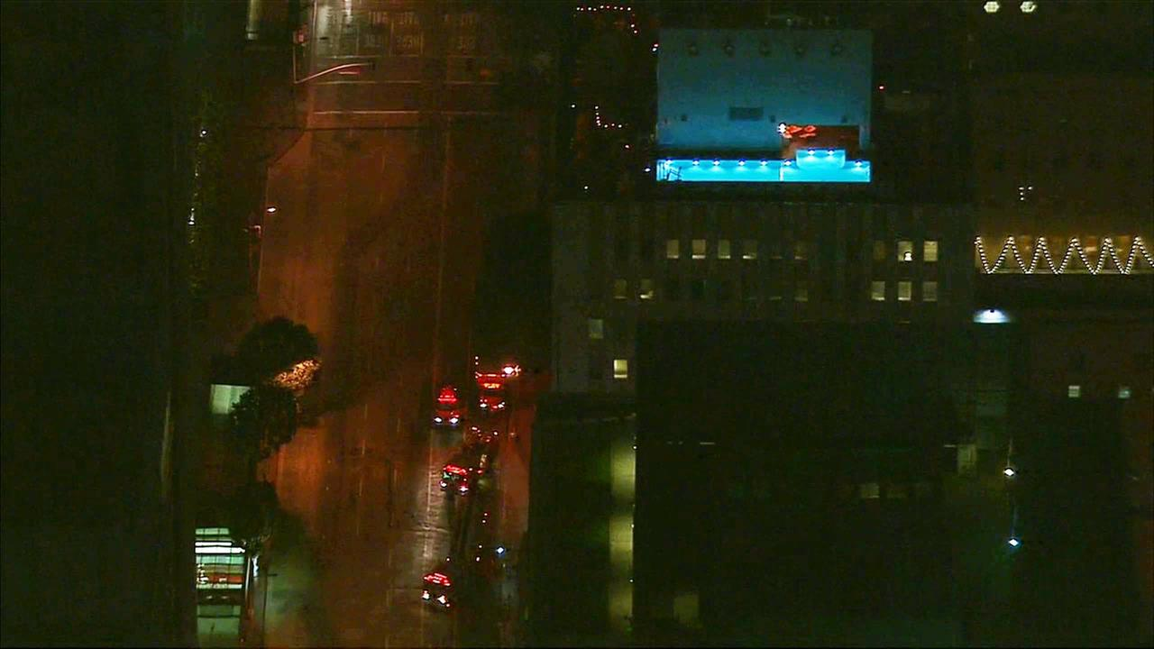 Fire engines are shown outside The Standard hotel in downtown Los Angeles on Thursday, Nov. 12, 2015.
