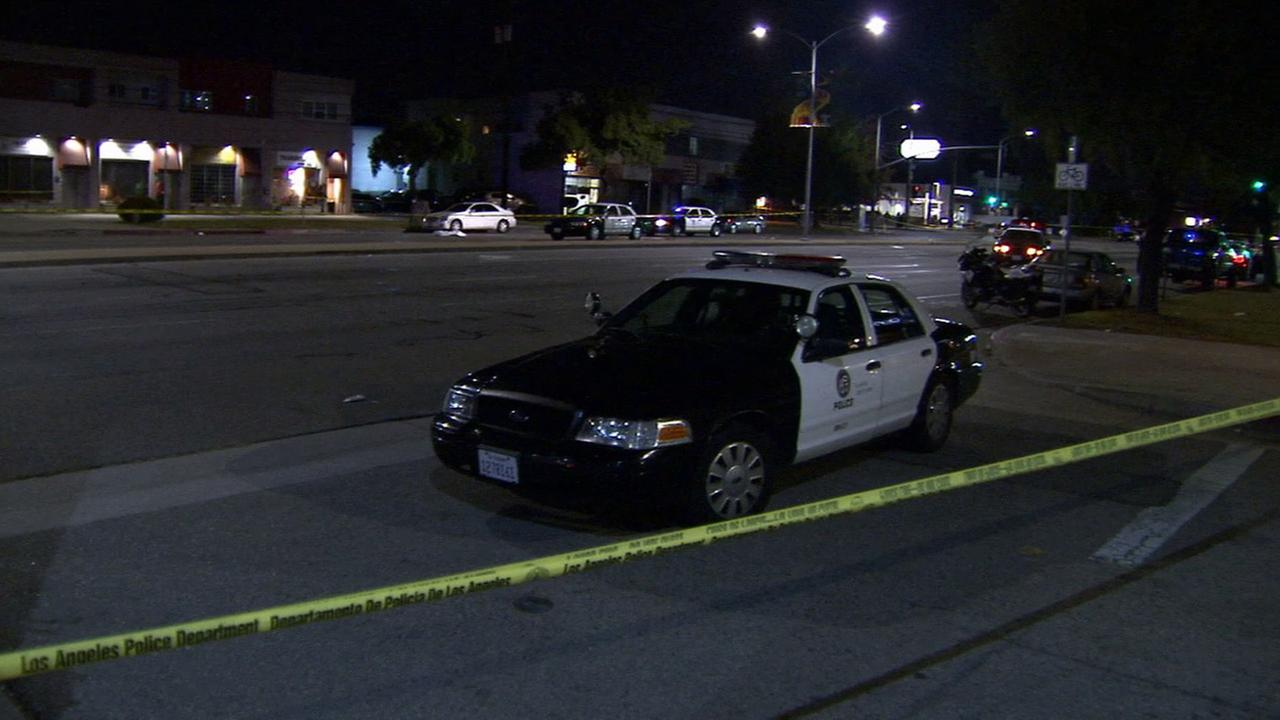 Authorities cordoned off Venice Boulevard near Hughes Boulevard after a man was killed in a hit-and-run in west Los Angeles on Sunday, Nov. 15, 2015.