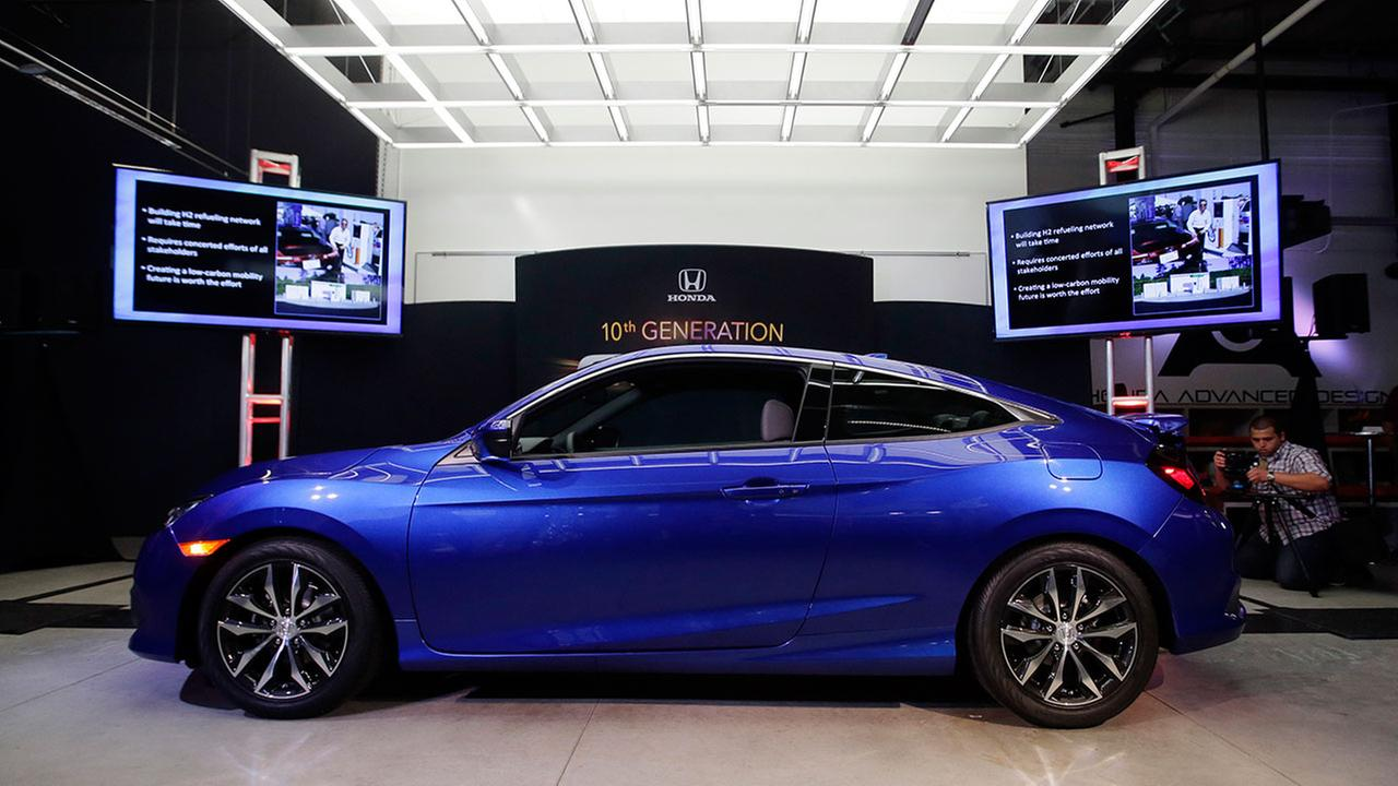 The Honda Civic Coupe production model is shown at Hondas Advanced Design Studio as part of the Los Angeles Auto Show on Tuesday, Nov. 17, 2015, in Los Angeles.