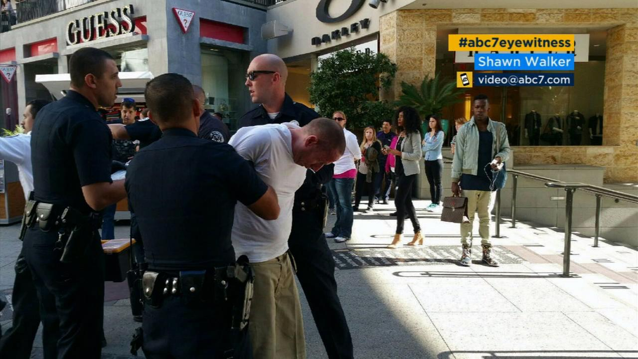 Donald Offerman, 54, is arrested at the Hollywood and Highland Center on Wednesday, Nov. 18, 2015 after police said he attacked a Russian tourist and his family with a knife.