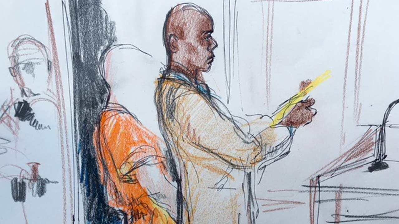 A court sketch during an appearance of 16-year-old Abel Diaz on Friday, Nov. 20, 2015, who is accused of fatally shooting a Downey police officer.