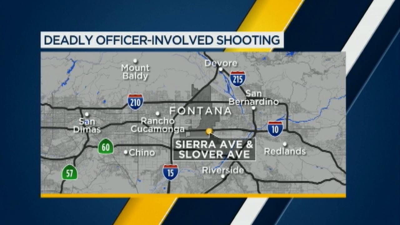 Fontana police shot and killed a robbery suspect at the Chevron gas station located at Sierra Avenue and Slover Avenue on Sunday, Nov. 22, 2015.