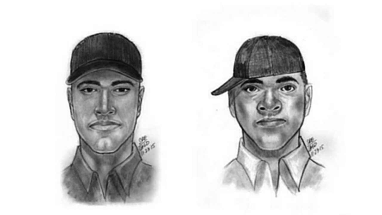 Sketches provided by the Montebello Police Department of two suspects believed to be involved in the death of a man found in a parking lot Monday, Nov. 25, 2015.