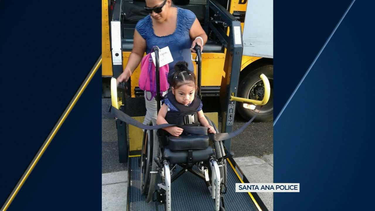 Milagros Perez, 4, seen with her wheelchair stolen Saturday, Nov. 21, 2015.