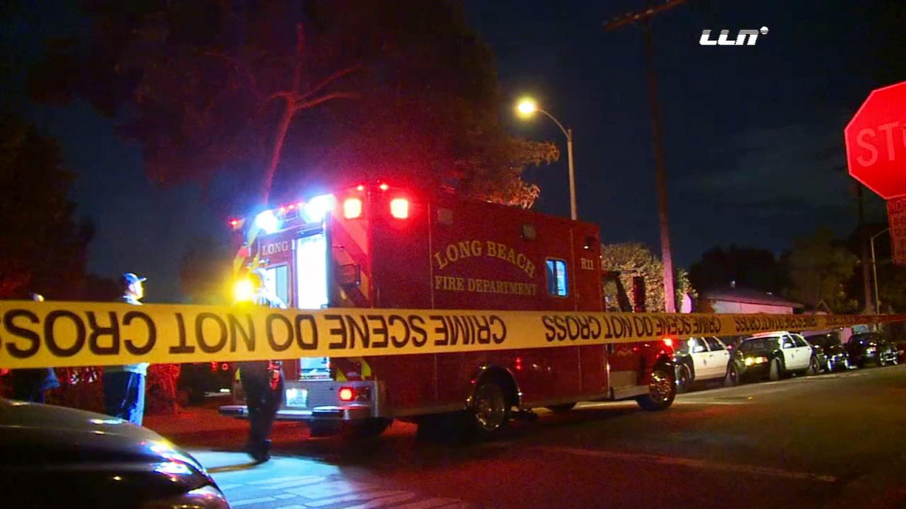 A suspect with a meat cleaver was shot by a Long Beach police officer responding to a report of an assault on Thursday, Nov. 26, 2015.