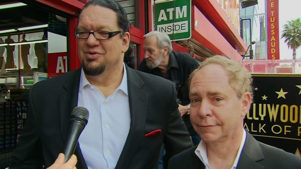 Illusionists Penn Jillett, left, and Teller, of the comedy magic team Penn and Teller received a star on the Hollywood Walk of Fame on Friday, April 5, 2013.