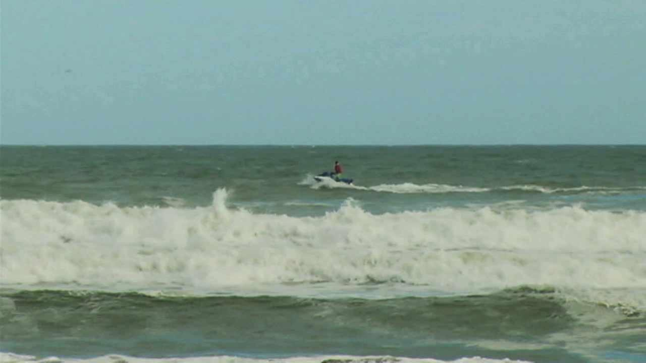 A man dressed as Santa Claus spotted surfing in Cocoa Beach, Florida on Friday, Nov. 27, 2015.
