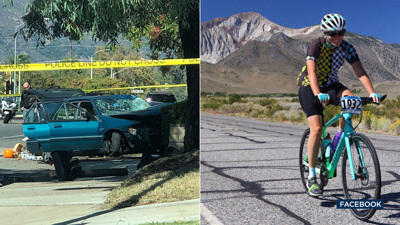 A image shows the scene of a fatal crash (right) and the crashs victim, Leslie Pray (left).