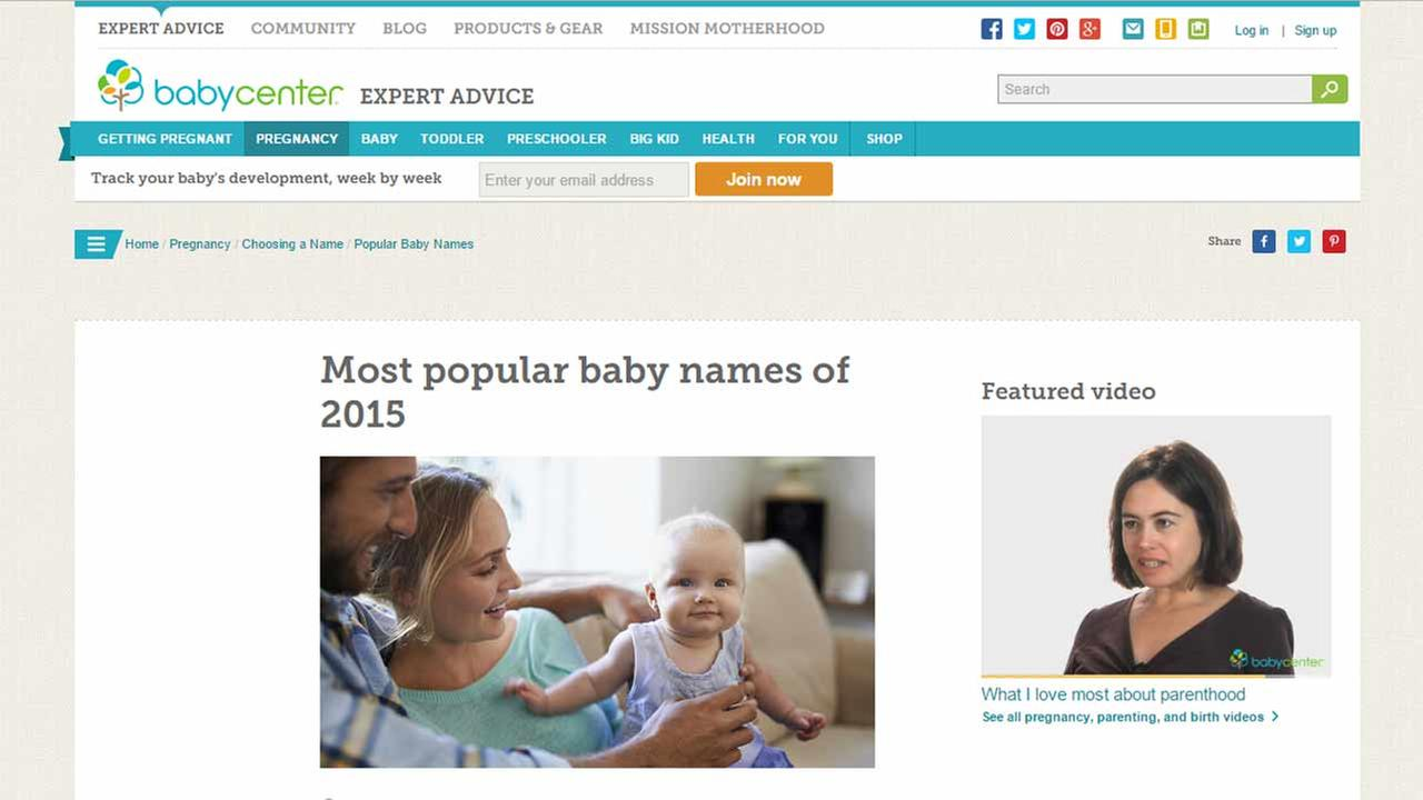 The Baby Center website with the most popular baby names of 2015 on Tuesday, Dec. 1, 2015.