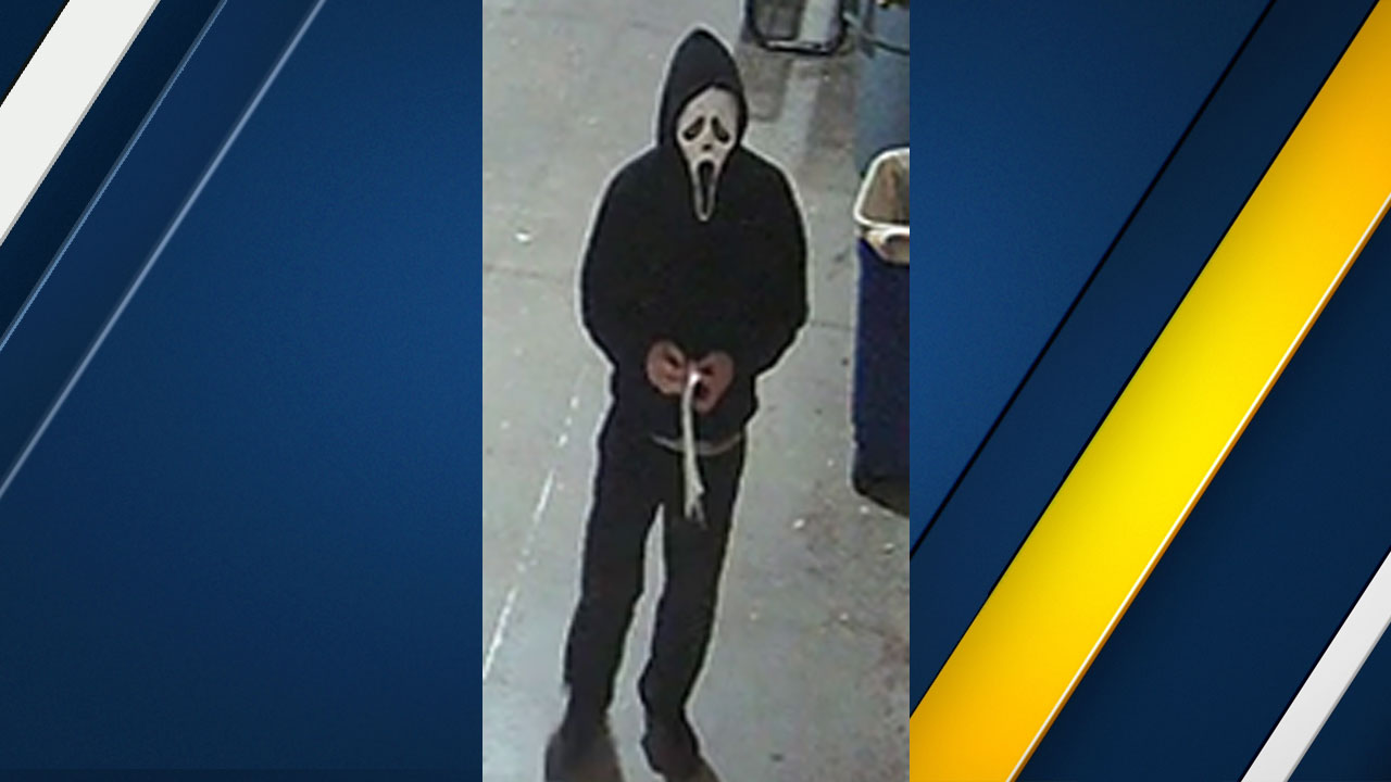 Surveillance video shows a suspect in a Ghostface mask who trespassed at South Pasadena High School on Oct. 30, 2018.