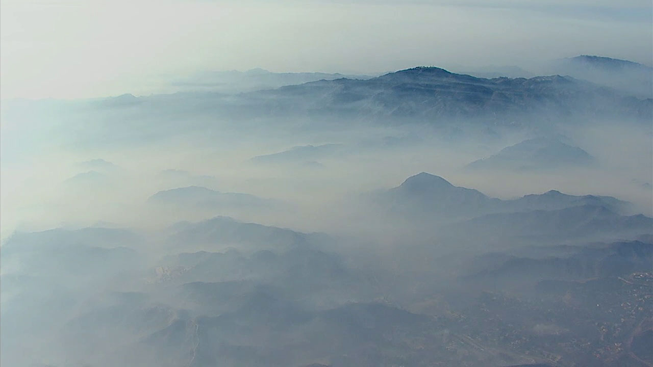 Thick clouds of smoke cover parts of Los Angeles County in a photo captured by AIR7 HD on Saturday, Nov. 10, 2018.