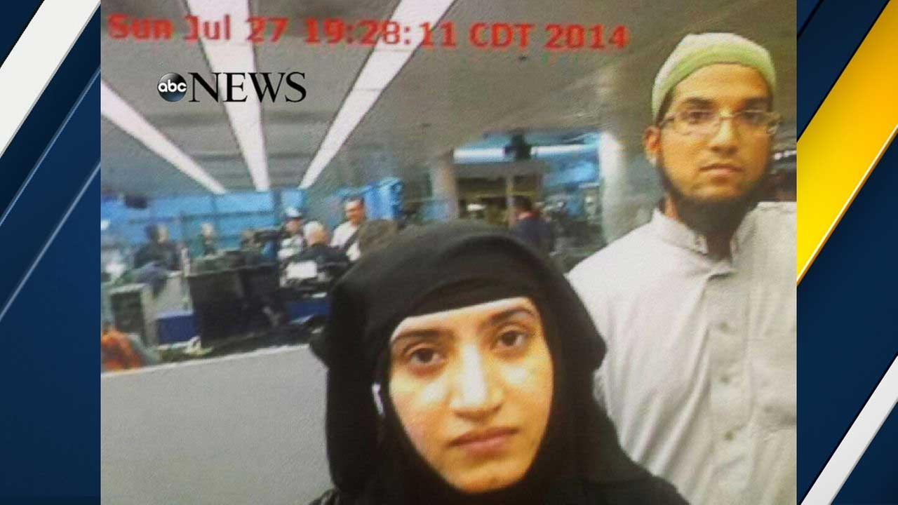 Photo obtained by ABC News shows Tashfeen Malik, center, and Syed Rizwan Farook, right, going through Chicagos OHare International Airport on July 27, 2014.