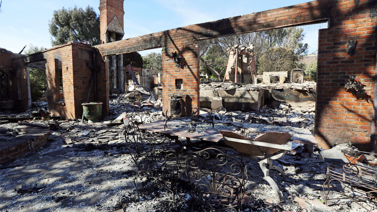 The Malibu, Calif., villa of German TV presenter Thomas Gottschalk lies in ruins Tuesday, Nov. 13, 3018.