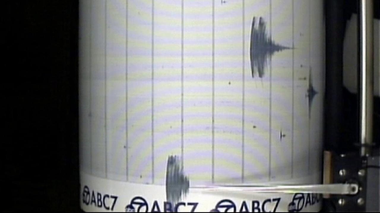 Shaking from a 3.5-magnitude earthquake is seen on the ABC7 Quake Cam on Friday, June 13, 2014.